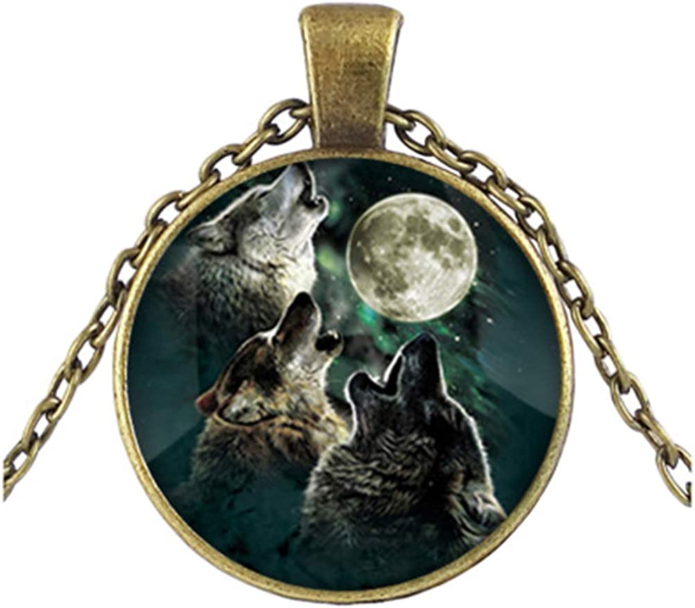 FLDC Cute Howling Wolves Long San Francisco Mall Choker Necklace Sale Chain Pendant Set