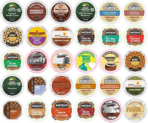 30-count K-cup ALL FLAVORED Coffee Variety Pack - Green Mountain, Grove Square, Authentic Donut Shop, Barnie's, Hurricane, Martinson, Brooklyn Bean, Java Factory, Guy Fieri, Gloria Jeans