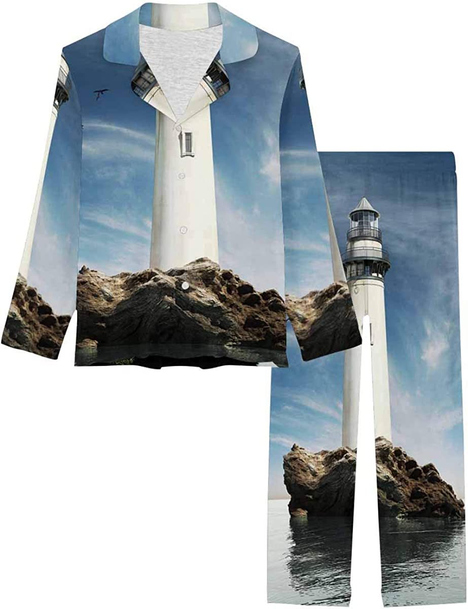 InterestPrint Long Sleeve Button Down Nightwear with Long Pants Day View of a Old Lighthouse on a Rock Island