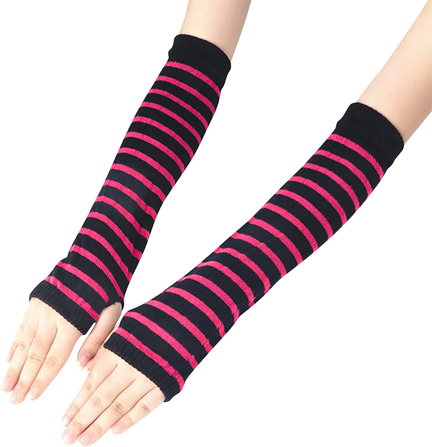 Womens Striped Knitted Fingerless Long Gloves Winter Thumb Hole Stretchy Glove Mittens Punk Gothic Arm Warmer Gloves