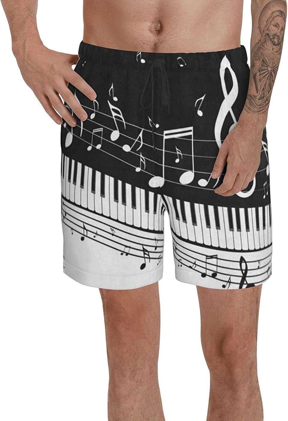 count Piano Keys Musical Men's 3D Printed Funny Summer Quick Dry Swim Short Board Shorts with