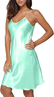 Women's Satin Long Lingerie Chemise Strap Dress Sleepwear