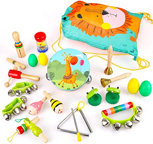 BeebeeRun Instruments de Musique pour Enfants, 23PCS Jouets Musicaux Bois avec Sac de Transport Percussion pour Bébé ...
