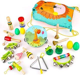 BeebeeRun Instruments de Musique pour Enfants, 23PCS Jouets Musicaux Bois avec Sac de Transport Percussion pour Bébé avec ...