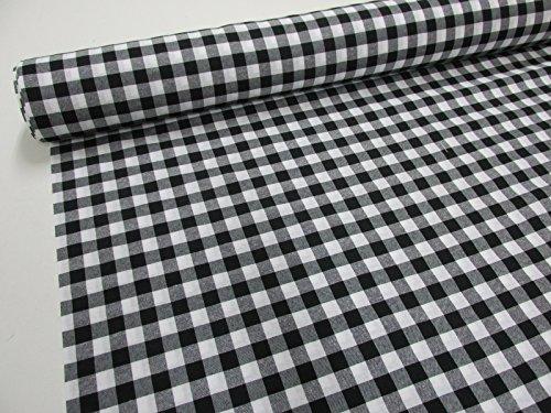 Confección Saymi Metraje 0,50 MTS Tejido Vichy Ref. Cuba Cuadro Medio 15x15 mm. Color Negro, con Ancho 2,80 MTS.
