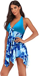 Women's Printing One Piece Swimsuit Lace Up Tummy Control Irregular Hem Swimwear Floral Bathing Suit with Shorts