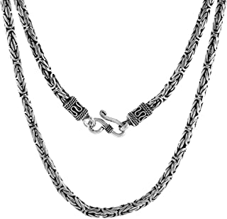 4mm Sterling Silver Round BYZANTINE Chain Necklaces & Bracelets 4mm Antiqued Finish Nickel Free, 7-30 inch