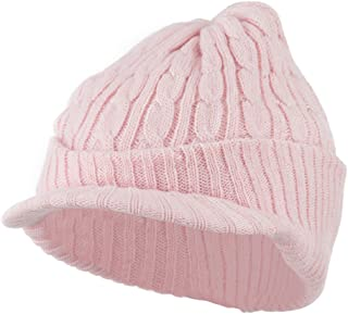 City Hunter Twist Knitted Cuff Beanie with Visor - Pink
