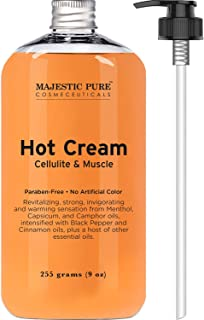 Majestic Pure Anti Cellulite Cream, 87% Organic Fat Burner Cream, 9 Oz - Tight Muscles & Joint and Muscle Pain, Natural Ce...