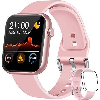 WWDOLL Smartwatch, Orologio Fitness Tracker Uomo Donna IP67 Cardiofrequnzimetro da Polso Contapassi e Calorie Activity Tracker Smart Watch Bluetooth per Android iOS (Rosa)