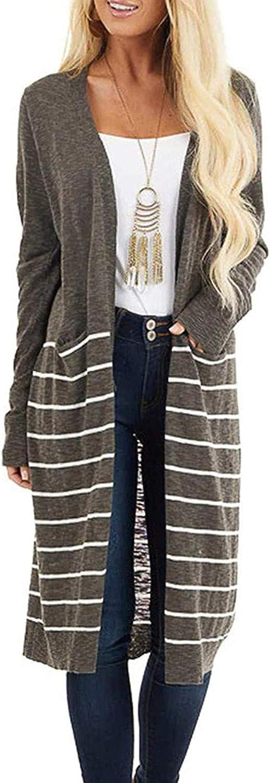 Hemlock Women Stripes Print Cardigan Sweaters Long Sleeve Plus Size Tops Open Front Cardigan Long Coat Outwears