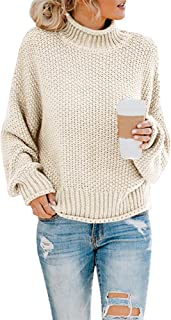 Saodimallsu Womens Turtleneck Oversized Sweaters Batwing Long Sleeve Pullover Loose Chunky Knit Jumper