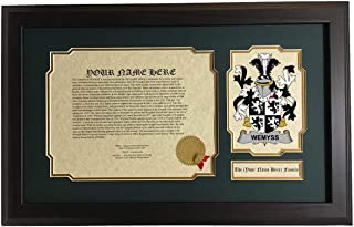 Wemyss - Coat of Arms and Last Name History, 14x22 Inches Matted and Framed