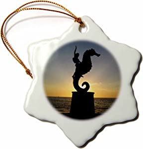 3dRose LLC orn_18563_1 Puerto Vallarta Malecon Boy on Seahorse Statue Silhouetted Against Sunset Snowflake Porcelain Hanging Ornament, 3-Inch