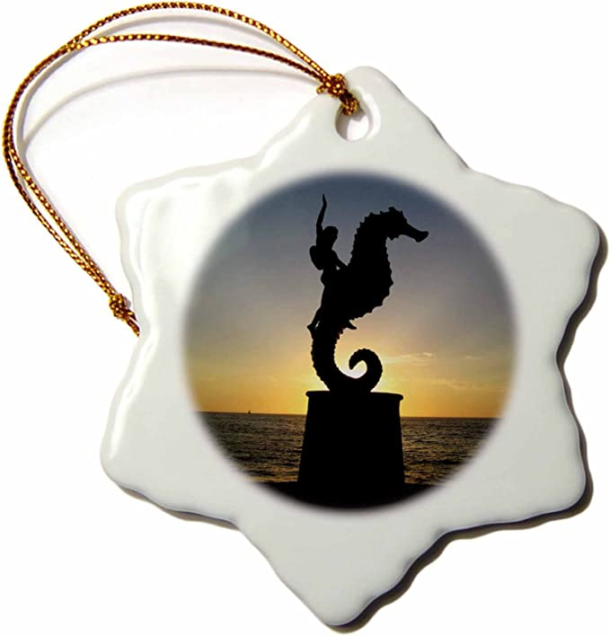 3drose Llc Orn 18563 1 Puerto Vallarta Malecon Boy On Seahorse Statue Silhouetted Against Sunset Snowflake Porcelain Hanging Ornament 3 Inch Home Kitchen