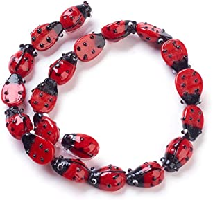 Craftdady 3 Strands Handmade Lampwork Ladybug Bead Strands 12-14mm Cute Insect Animal Spacer Loose Beads for DIY Jewelry Making About 60pcs