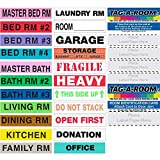 Tag-A-Room Color Coded Home Moving Box Labels, 1150 Count Moving Stickers, Moving Supplies