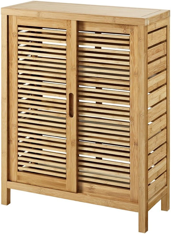 Linon AMZN0322 Finn Bamboo Bathroom Two Door Cabinet, Brown