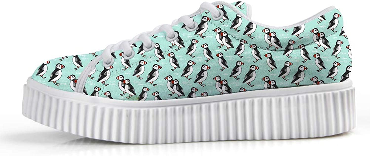 Owaheson Platform Lace up Sneaker Casual Chunky Walking shoes Low Top Women Happy Puffin