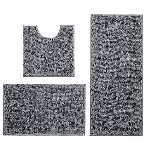 Hodeacc Rutschfeste Badematten-Set, hohe Wasseraufnahmedichte, weiche Mikrofaser, WC-Vorleger, WC-Sockelmatte, maschinenwaschbar, 3-teiliges Set (Grau)