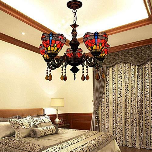 Lámpara de techo American Pastoral Vidrieras Sala Comedor Dormitorio Araña Elegante Clásico Bar Rojo Creativo 5 Cabeza Araña Decoración