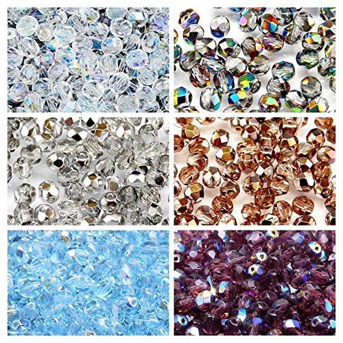 Tschechische Facettierte Glasperlen, Fire-Polished, Rund 6 mm. Sechs Farben. Nur 300 Perlen. Set 6S FP 616 (6FP002 6FP003 6FP007 6FP008 6FP049 6FP053)