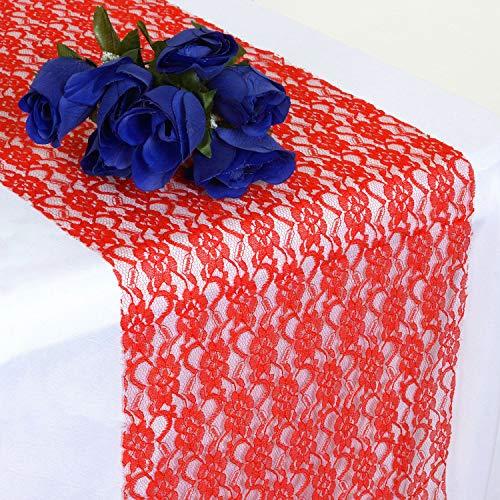 Events N Fabrics 5 Chemin de Table en Dentelle pour Une fête de Mariage noël Anniversaire Banquette décoration Vintage   Rouge