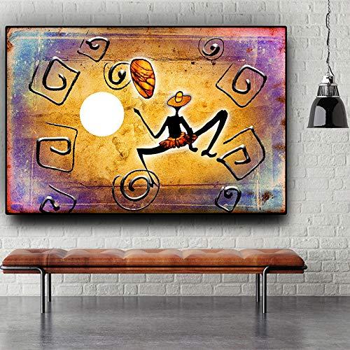 zangtang gouden abstract Afrikaans karakter-dans-geometrie-olieverfschilderij-canvas-poster