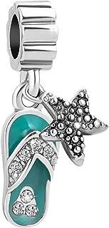 Beach Charms Starfish Flip Flop Sliper Dangle Birthstone Birthday Charm Beads for Bracelets