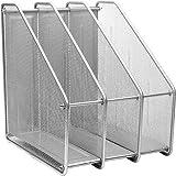 CABLEPELADO Revistero escritorio organizador metal (Plateado, 3 compartimentos)