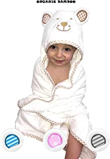 Organic Baby Bath Towel and Washcloth set-Unisex Bamboo Hooded Towels for Girls and Boys- Registry Gift For Newborn, Toddler, and Kids Beach Cotton- Beach- with Animal Face Robe with Hood – White/Blue