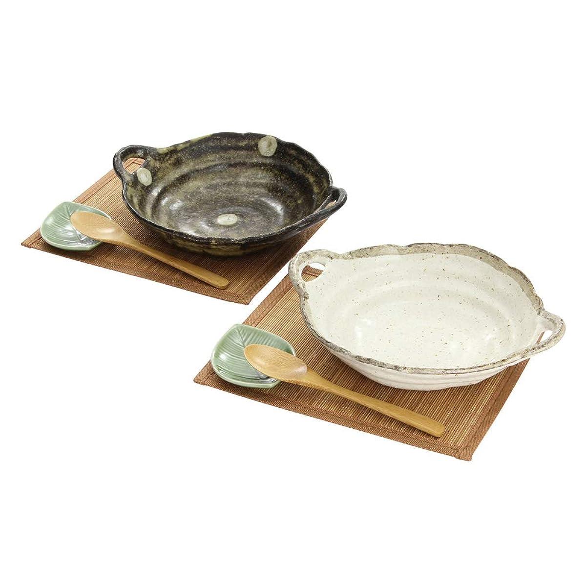 言い訳納屋薄いシチュー&カレー皿 2セット スプーン 小皿 ランチョンマット付き ナチュラルスタイル ほんぢ園