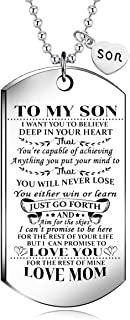 NOVLOVE To My Son from MOM I Want You To Believe Love Mom Dog Tag Military Air Force Navy Coast Guard Necklace Ball Chain ...