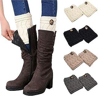 QKURT, Mujeres Short Leg Warm, 4 par Winter Short Boots Calcetines Crochet Knit Leg Warmers Calcetines Topper para mujeres Niñas
