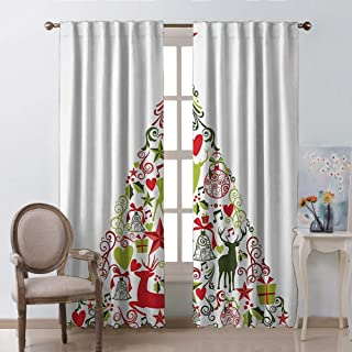 Decorations Collection Window Curtains Christmas Decoration Merry Themed House Decor Popular New Year Ornaments and Star Tree Topper Multi Kids Room Living Room Dorm W55 xL63