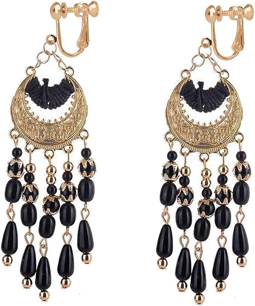 Women's Bohemian Clip on Earring Screw Back Vintage Fringed Long Seed Beads Drop Tassels Dangle