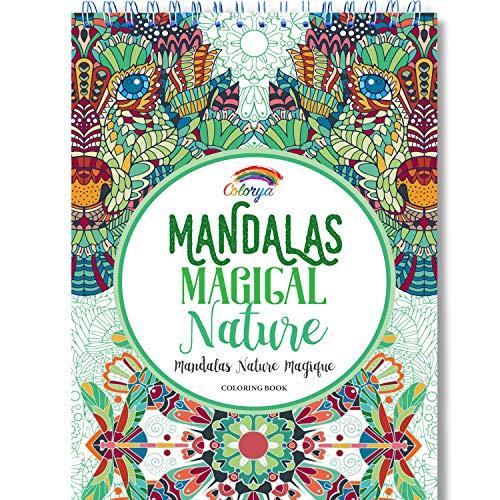 Libros Para Colorear Adultos por Colorya - Mandalas Magical Nature - Libro Colorear Adultos Premium, Sin Manchas, Impresión A Una Cara, Tamaño A4 y Espiralado + Ebook Extra con Ejemplos, Ideas y Tips