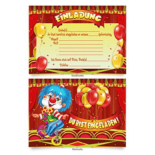 """Einladungskarten (8 Stück) zum Ausfüllen für Kindergeburtstag - """"Zirkus"""" Clown"""
