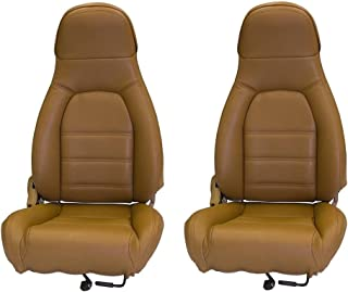 AutoBerry Compatible with Mazda Miata Front Seat Cover Kit Standard Seats Tan Leatherette 1990-1996