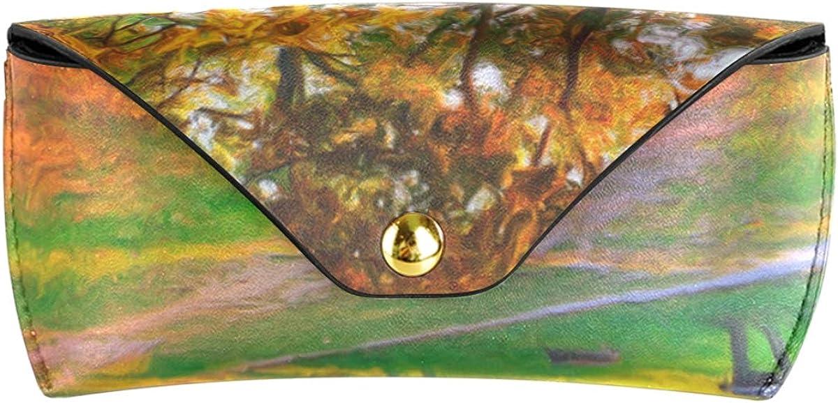 Portable PU Leather gift Sunglasses Case Eyeglasses Pouch Goggles Bag Multiuse Landscape Painting Autumn Colors Park Tree