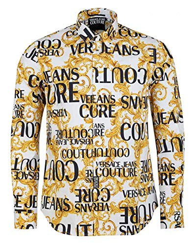 Versace Jeans Couture Slim Fit All Over Baroque Print Shirt MEDIUM White and Gold
