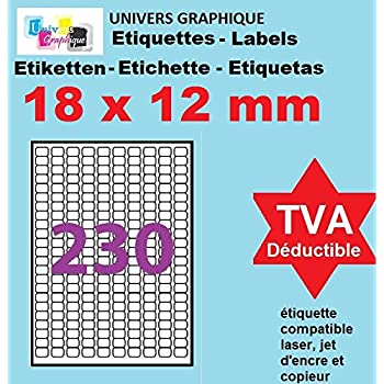 wei/ßer Klebstoff 50 Bl/ätter 1050 Klebeetiketten auf A4-Bl/ättern UniversGraphique 70 x 42.3 mm 21 Etiketten pro Blatt
