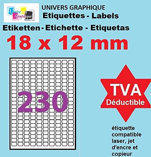 petit un compact 5 feuilles de 230 mini étiquettes 18 x 12 mm = 1150 étiquettes – blanc mat – pour imprimantes…