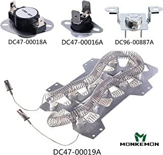DC47-00019A Dryer Heating Element Replace for Samsung, DC96-00887A and DC47-00016A Thermal Fuse &Thermostat, DC47-00018A Thermal Cut-off fuse,Dryer Repair Kit Replacement