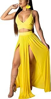 Salimdy Women 2 Piece Outfits Sexy V Neck Strap Crop Top Mesh High Split Beach Maxi Chiffon Dress Yellow Large