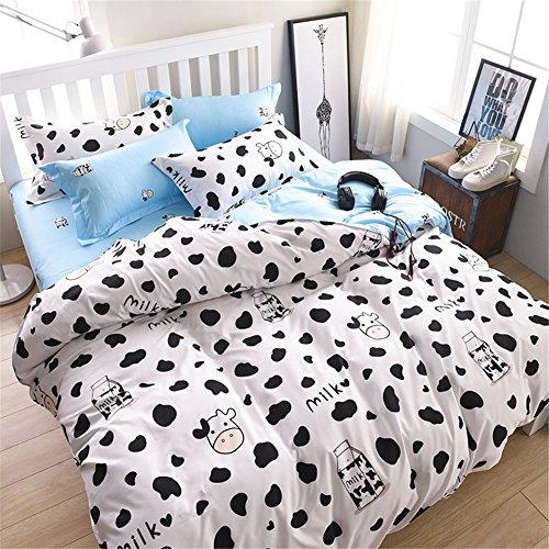 Morbuy Bettwäsche Bettbezug Set, 3 Teilig Bettgarnitur Bettwäsche - Set Gemütlich 100% Mikrofaser mit Reißverschluss 1 Bettbezug + 2 Kissenbezug (200x200CM, Kuh-Muster)