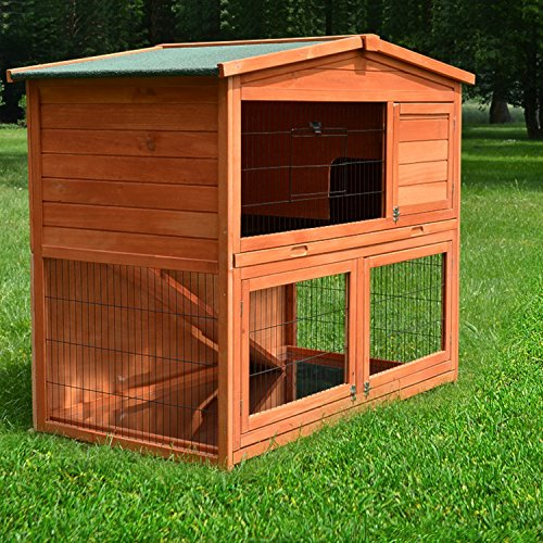 zooprinz Kaninchenstall 23 Hasenkäfig - HASENHAUS-M - Stall für Außenbereich (GRÖßE: (M) | für Kleintiere: Hasen, Kaninchen, Meerschweinchen usw.)