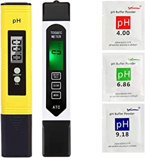 Water Quality Tester 2 in 1 Set, PH & TDS Water Tester, 0~9990 PPM, EC and Temperature Measurement; 0.01 PH High Accuracy with 0-14 PH Measurement Range, Measure for Water, Wine, Spas, Aquariums