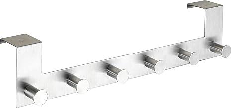 Wenko Deurkapstok Celano - haaklijst met 6 haken, voor deurdikte tot 4 cm, roestvrij staal roestvrij, 39 x 11 x 7,5 cm, mat
