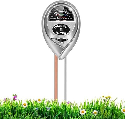 RileyKyi Soil PH Meter, 3-in-1 Soil Moisture/Light/pH Tester Gardening Tool Kits for Plant Care, for Garden, Lawn, Fa...